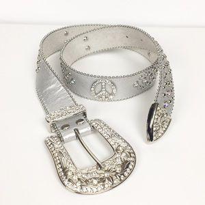 Accessories - Silver Rhinestone Peace Sign Genuine Leather Belt